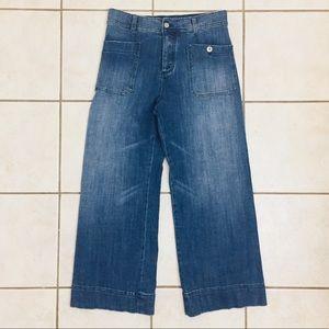 Pilcro Letterpress Wide Leg High Waist Blue Jeans